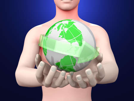Holding the world in your hands  3D rendered illustration    illustration