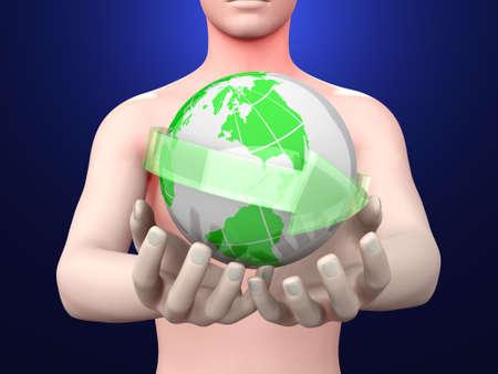 el mundo en tus manos: Sostener el mundo en sus manos ilustraci�n 3D prestados