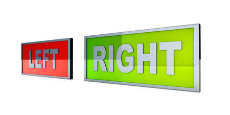 which way: Left and right  Political directions  3D rendered illustration, Isolated on white