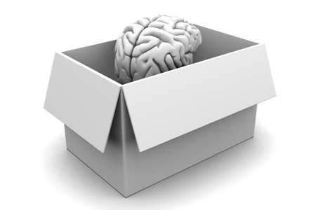 Brain out of the box  3D rendered Illustration  Isolated on white  illustration