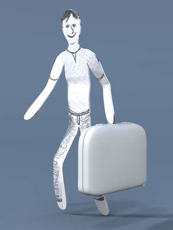 A cartoon guy going to travel with a suitcase  3d rendered illustration  illustration