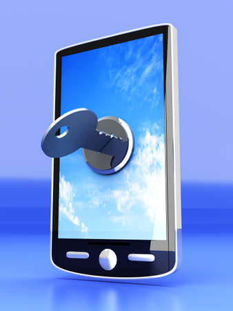 A locked smartphone  3D rendered illustration   Stock Illustration - 14984319