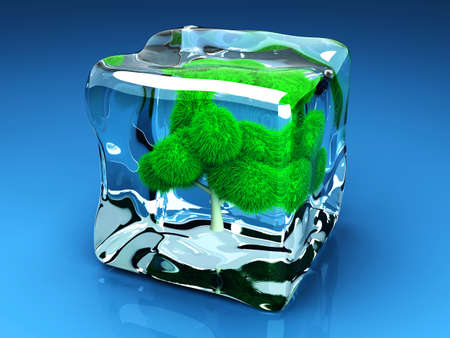 thawing: A frozen Tree in a Ice Cube  3D rendered Illustration  Stock Photo