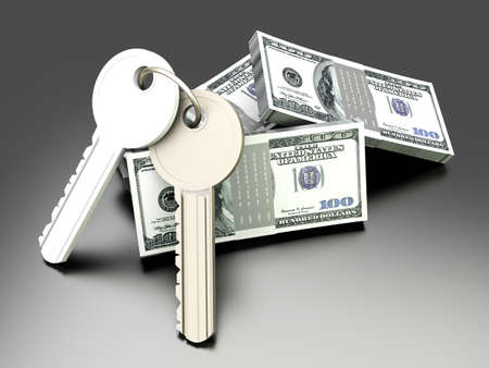 gain access: A pair of keys with Dollar notes  Symbol for Real estate investments  3D rendered illustration