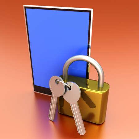 A secure Tablet PC  3D rendered illustration Stock Illustration - 15093953