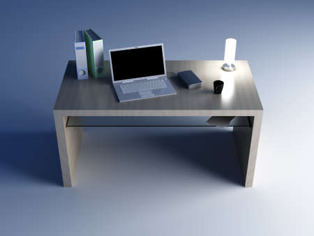 A wooden Desktop  3D rendered Illustration    illustration