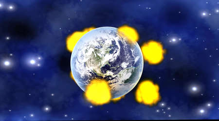 Explosions after multiple Meteor impacts on Planet earth  3D rendered illustration   illustration