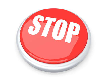 abort: Stop button  3D rendered illustration  Isolated on white