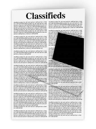 3D rendered Illustration  A sheet of classifieds  Isolated on white Stock Illustration - 15313218