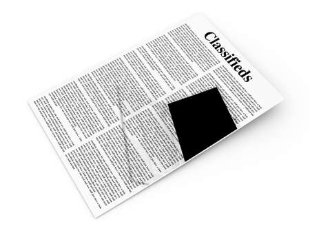 3D rendered Illustration  A sheet of classifieds  Isolated on white  illustration