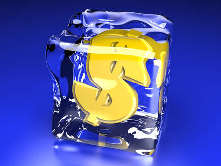 3D rendered Illustration  A Dollar symbol in a Ice cube   illustration