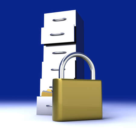 guard: A secure, locked, archive drawer  3D rendered illustration
