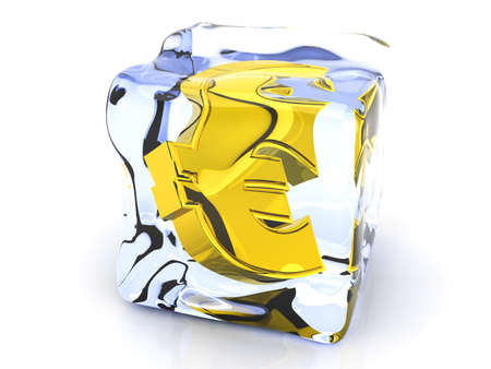 refresh rate: 3D rendered Illustration  A Euro symbol in a Ice cube   Stock Photo
