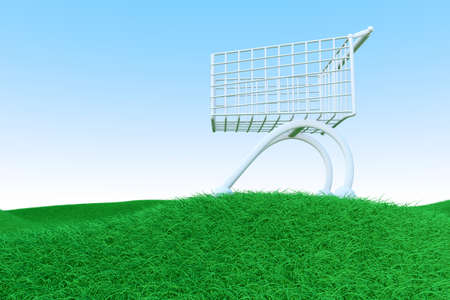mal: A shopping cart on Green Hills  3D rendered Illustration    Stock Photo