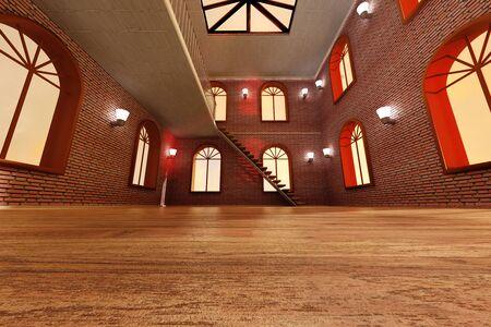 Architecture visualization of a Loft interior  3D rendered Illustration