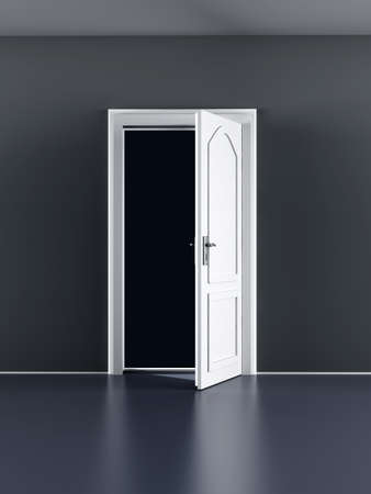 Una porta aperta in una stanza vuota illustrazione 3D rendering photo