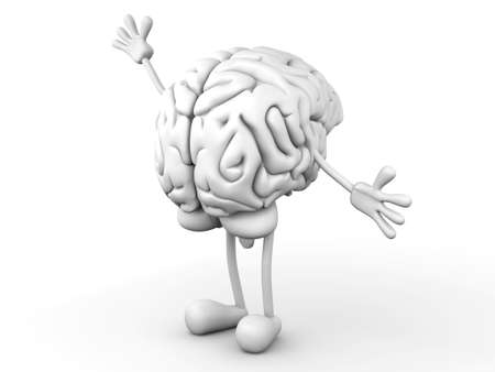greet: A greeting Cartoon Brain  3D rendered Illustration  Stock Photo