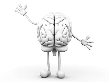 A greeting Cartoon Brain  3D rendered Illustration  Stock Photo