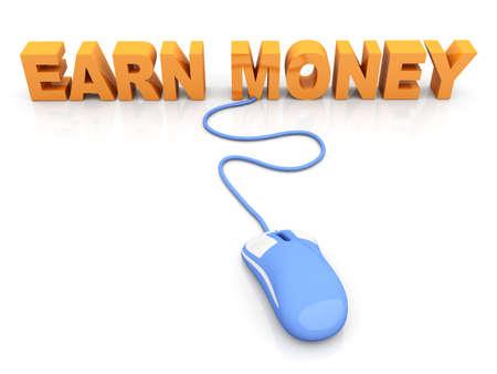 Earn Money online  3D rendered Illustration  Isolated on white Stock Illustration - 15556610