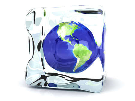 thawing: The Earth in a Ice Cube  3D rendered Illustration  Stock Photo