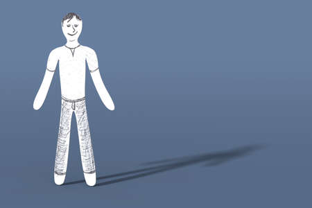 man standing alone: A cartoon guy  3d rendered illustration