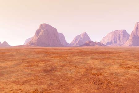 Virtual landscape on the Mars  3D rendered Illustration  Stok Fotoğraf