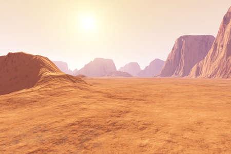 Virtual landscape on the Mars  3D rendered Illustration  Stock Photo