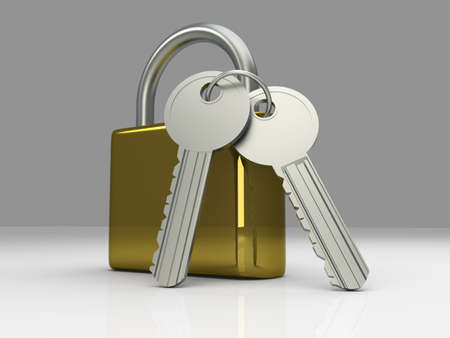 A padlock with keys  3D rendered Illustration Stock Illustration - 15698268