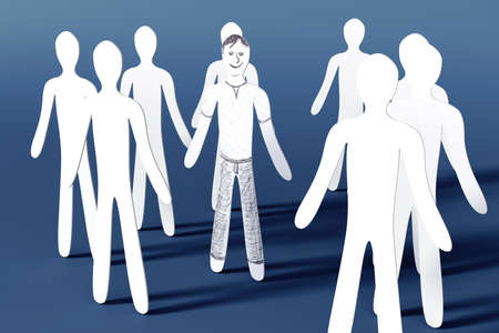 joined hands: One is happy  3D rendered illustration  Stock Photo