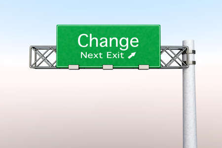 developement: 3D rendered Illustration  Highway Sign next exit  to Change    Stock Photo