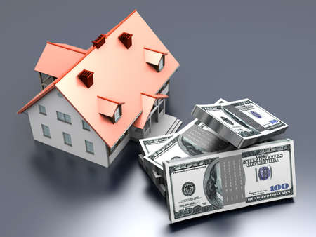 Money and Real estate  3D rendered illustration