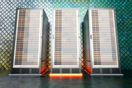 fileserver: A iron server room  3D rendered Illustration