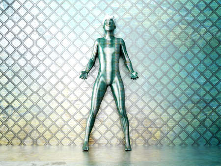 A chameleon man in a metal room  3D rendered Illustration  illustration