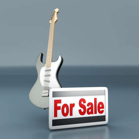 Guitar for sale  3D rendered illustration    illustration