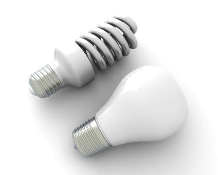 bombillo ahorrador: Un cl�sico y un ahorro de energ�a moderna luz bombilla 3D representa la ilustraci�n aislado en blanco
