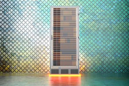 webhoster: A iron server room  3D rendered Illustration
