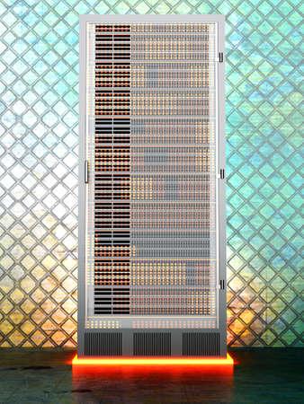 A iron server room  3D rendered Illustration Stock Illustration - 15952987