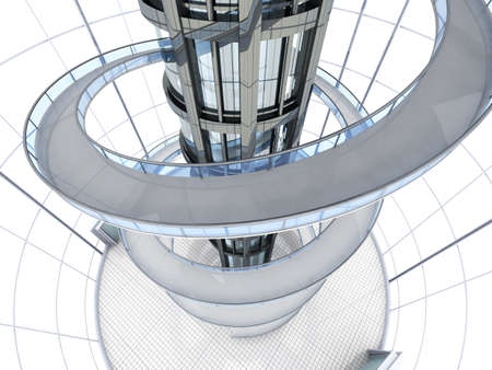 Science fiction architecture visualisation  3D rendered illustration  illustration