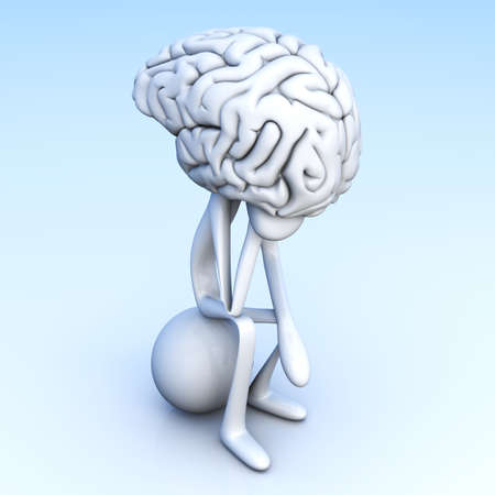 cortex: A cartoon figure con a huge brain  3D rendered illustration