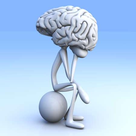 A cartoon figure con a huge brain  3D rendered illustration Stock Illustration - 16065553