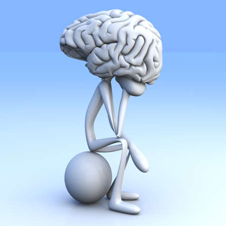psychologie: Een cartoon figuur con een enorme brain 3D teruggegeven illustratie Stockfoto