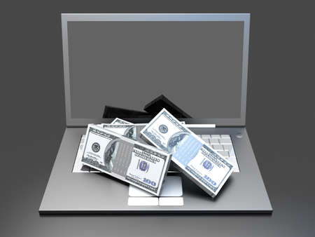A Laptop with some cash  3D rendered illustration  illustration