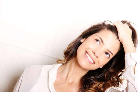 giggle: Retrato de una bella, riendo, mujer hispana