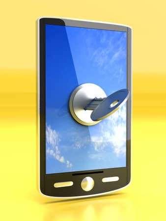 A locked smartphone  3D rendered illustration Stock Illustration - 16065572