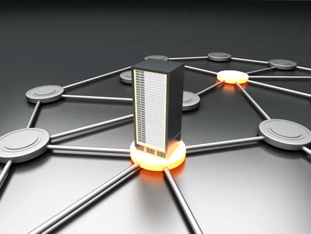 providers: Connected cloud of 19 inch server towers  3D rendered illustration  Stock Photo