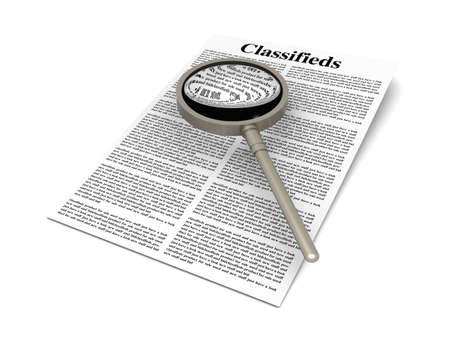 classified ad: 3D rendered Illustration  A sheet of classifieds  Isolated on white