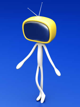 electronic publishing: TV Head  3D rendered cartoon illustration    Stock Photo