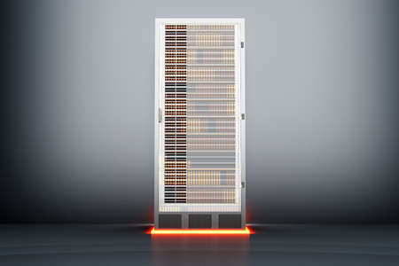 webhoster: A dark server room  3D rendered Illustration  Stock Photo