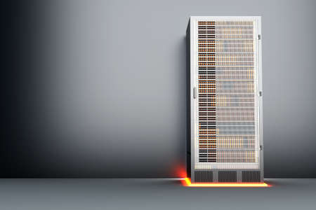 electricity providers: A dark server room  3D rendered Illustration  Stock Photo