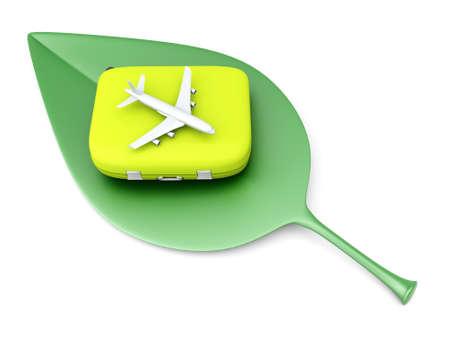 turismo ecologico: Aire Sostenible, ecológico viajar 3D representa la ilustración